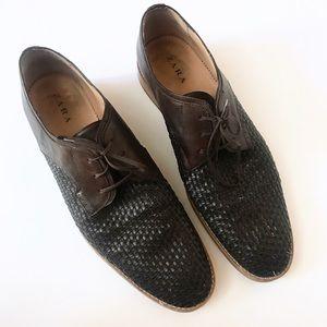 zara / men's woven black brown oxford dress shoes